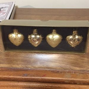 New Christmas ornaments hearts etched